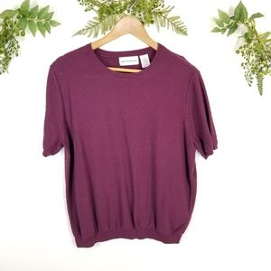 🌼VTG PURPLE knit short sleeve sweater blouse szXL